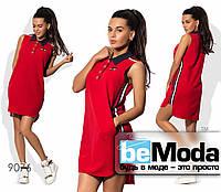 Модное женское короткое платье в спортивном стиле красное