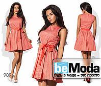 Милое женское платье с клешной юбкой в мелкий горох оранжевое