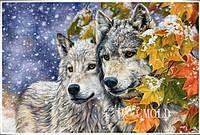 """Набор алмазной вышивки """"Волки в зимнем лесу"""""""