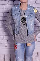 Жилет женский джинсовый с заклепками (код 3385)