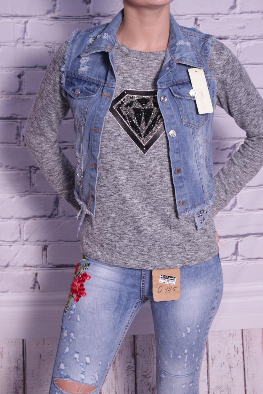 Стильный жилет женский джинсовый  (код 2193)