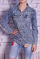 Стильная женская джинсовая рубашка Farfallina (код 6031)