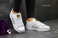 Женские кроссовки ADIDAS SUPERSTAR, пресс кожа, белыес серебром / кроссовки женские АДИДАС СУПЕРСТАР, модные