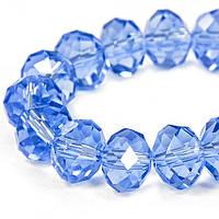 Бусины Хрустальные Жемчужный Блеск, Гальваническое стекло, Граненые, Рондель, Цвет: Бледно-голубой, Размер: 10х7мм, Отв-тие: 1мм, около 72шт/нить,