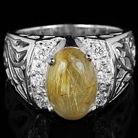 """Прекрасное кольцо  """"Афродита"""" с   рутиловым кварцем и цирконами, размер 19.2 от студии LadyStyle.Biz"""