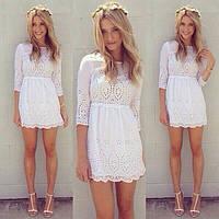 Женское батистовое белое летнее платье , фото 1