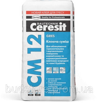 Клеящая смесь для напольных плит, керамогранита CERESIT СМ-12 (ЦЕРЕЗИТ СМ12) 25 кг, фото 2