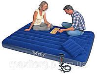 Двуспальный надувной матрас + ручной насос + 2 подушки Intex 68765 (152см х203см х 22см)