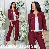 Костюм женский тройка - короткий пиджак, топ, брюки на кулиске, 0040 кс