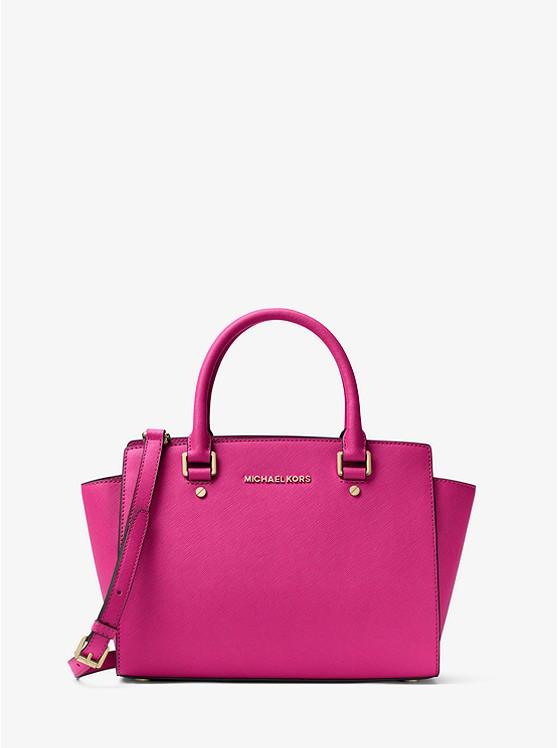 Сумка Michael Kors Selma Saffiano Leather Medium Satchel pink 30S3GLMS2L
