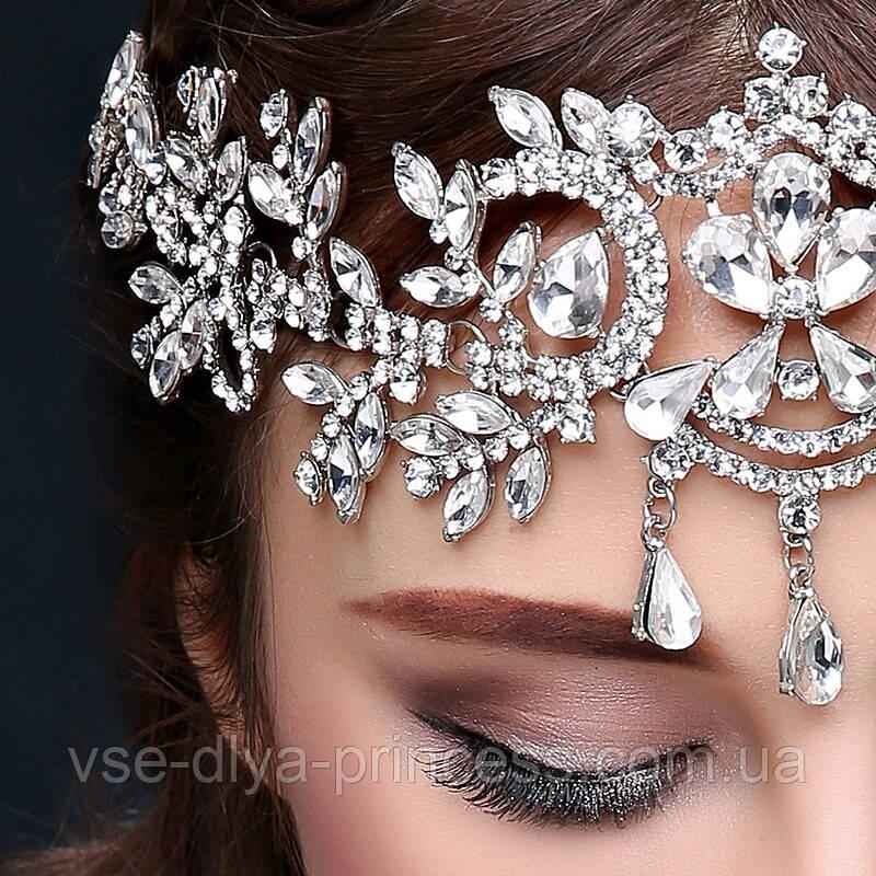 Діадема під срібло з підвісними камінням, корона, тіара, висота 8,5 див.