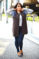 Женская жилетка батал, декорированная искуственным мехом