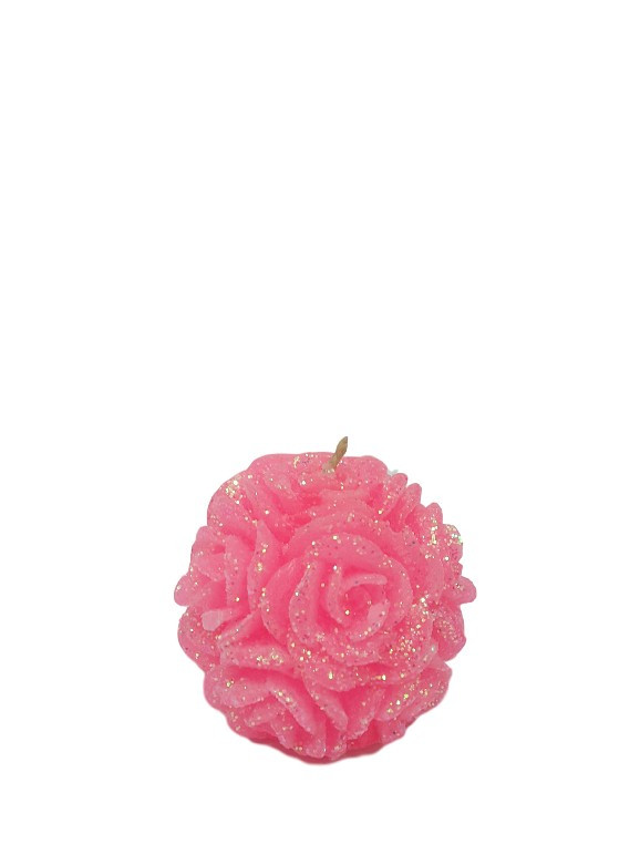 Свеча декоративная Роза круглая розовая