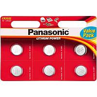 Батарейки дисковая Panasonic CR 2032 BL 6 шт LITHIUM