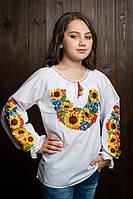 Детская вышиванка с подсолнухами
