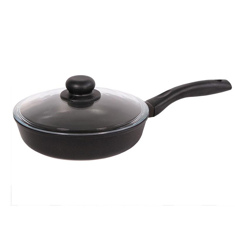 Сковорода з антипригарним покриттям і скляною кришкою 26см Біол