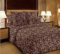 Ткань для постельного белья, перкаль (хлопок) Вензель шоколад
