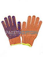 Перчатки рабочие с точками пвх (оранжевые с синей точкой)