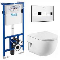 Унитаз подвесной Meridian-N Compacto с сиденье и инсталляция PRO кнопка, фото 1