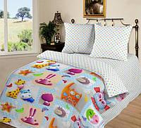 Ткань для детского постельного белья, поплин Плюшевый мир, компаньон -ткань в горошки