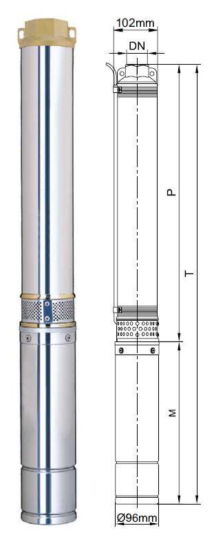 Центробежный скважинный бытовой насос Aquatica 777143; 1.5кВт; H=98м; Q=8.4 м³/ч; Ø96мм размеры