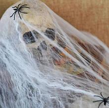 Паутина с пауками, белая