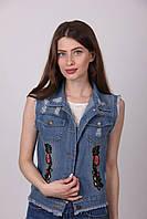 Молодежная джинсовая жилетка 806 с аппликацией