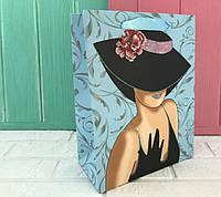 """Бумажные подарочные пакеты """"Дама в шляпе """" М ( упаковка 12 шт)"""