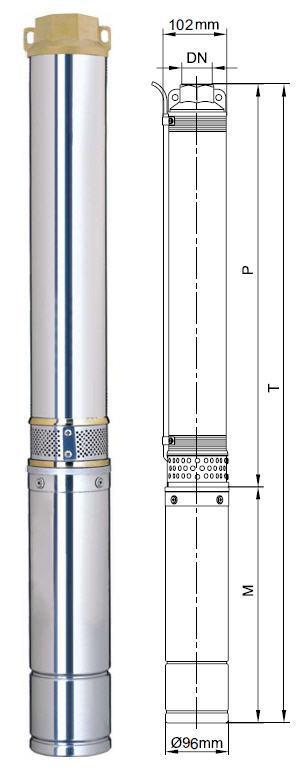 Центробежный скважинный бытовой насос Aquatica 777153; 1.5кВт; H=77м; Q=10.8 м³/ч; Ø96мм размеры