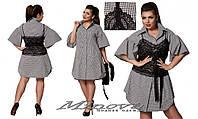 Хит этого сезона, платье рубашка с воланами на рукавах и гипюровый топ с поясом.