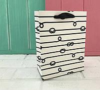"""Бумажные подарочные пакеты """"Морские узлы """" S ( упаковка 12 шт)"""