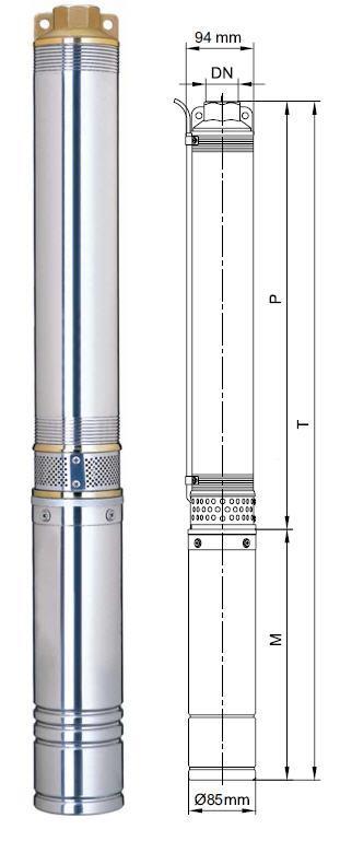 Центробежный скважинный бытовой насос Aquatica 777114; 0.75кВт; H=78м; Q=4.8 м³/ч; Ø94мм размеры