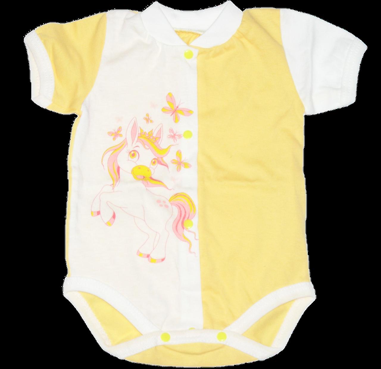 Детский боди-футболка р. 62 ткань КУЛИР 100% тонкий хлопок ТМ Незабудка 3080 Желтый
