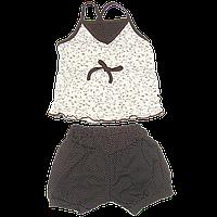Детский летний костюмчик: майка на тонких бретельках и шортики; стрейч-кулир, ТМ Ромашка, р.86,92,98,104,110