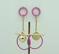 Розовые асимметричные серьги для молодёжи. Молодёжные асимметричные серьги 3024