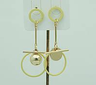 Жёлтые асимметричные серьги для молодёжи. Молодёжные асимметричные серьги 3025