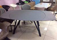 Стол обеденный ТМ-525, база стола металл с черным напылением, столешница серый камень,поворотный механизм