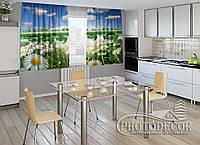"""ФотоШторы для кухни """"Ромашки и роса"""" 1,5м*2,0м (2 половинки по 1,0м), тесьма"""