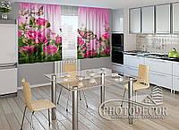 """ФотоШторы для кухни """"Розовые нотки"""" 1,5м*2,0м (2 половинки по 1,0м), тесьма"""
