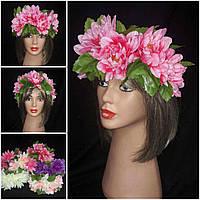 """Украинский веночек из цветов на голову """"Лилии"""", 235/195 (цена за 1 шт. + 40 гр.)"""