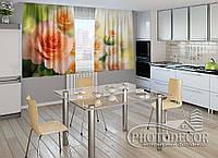"""ФотоШторы для кухни """"Розы невесты"""" 1,5м*2,0м (2 половинки по 1,0м), тесьма"""