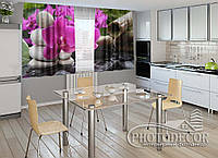 """ФотоШторы для кухни """"Орхидея на камнях"""""""