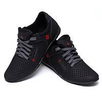Кроссовки-туфли мужские Columbia летние натуральная кожа черные и бежевые C0020 43, черный