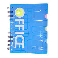Блокнот с закладками Office А6 11,5х14,5см спираль СИНИЙ