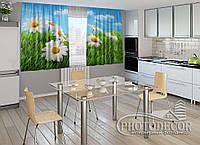 """ФотоШторы для кухни """"Ромашки в травке"""" 1,5м*2,0м (2 половинки по 1,0м), тесьма"""