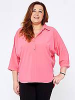 Розовая рубашка больших размеров 159