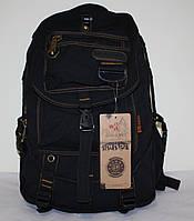 Городской повседневный рюкзак черный брезент