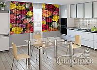 """ФотоШторы для кухни """"Разноцветные розы"""" 1,5м*2,0м (2 половинки по 1,0м), тесьма"""