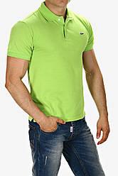 Мужская футболка поло трикотаж Lacoste Турция салатовая