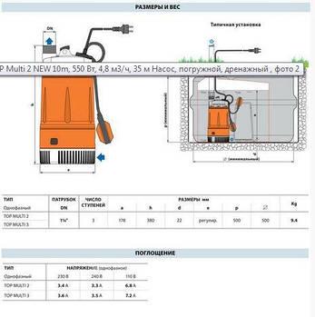 Насос погружной, дренажный Pedrollo TOP Multi 3 NEW 10m, 550 Вт, 7,2 м3/ч, 33 м, фото 2